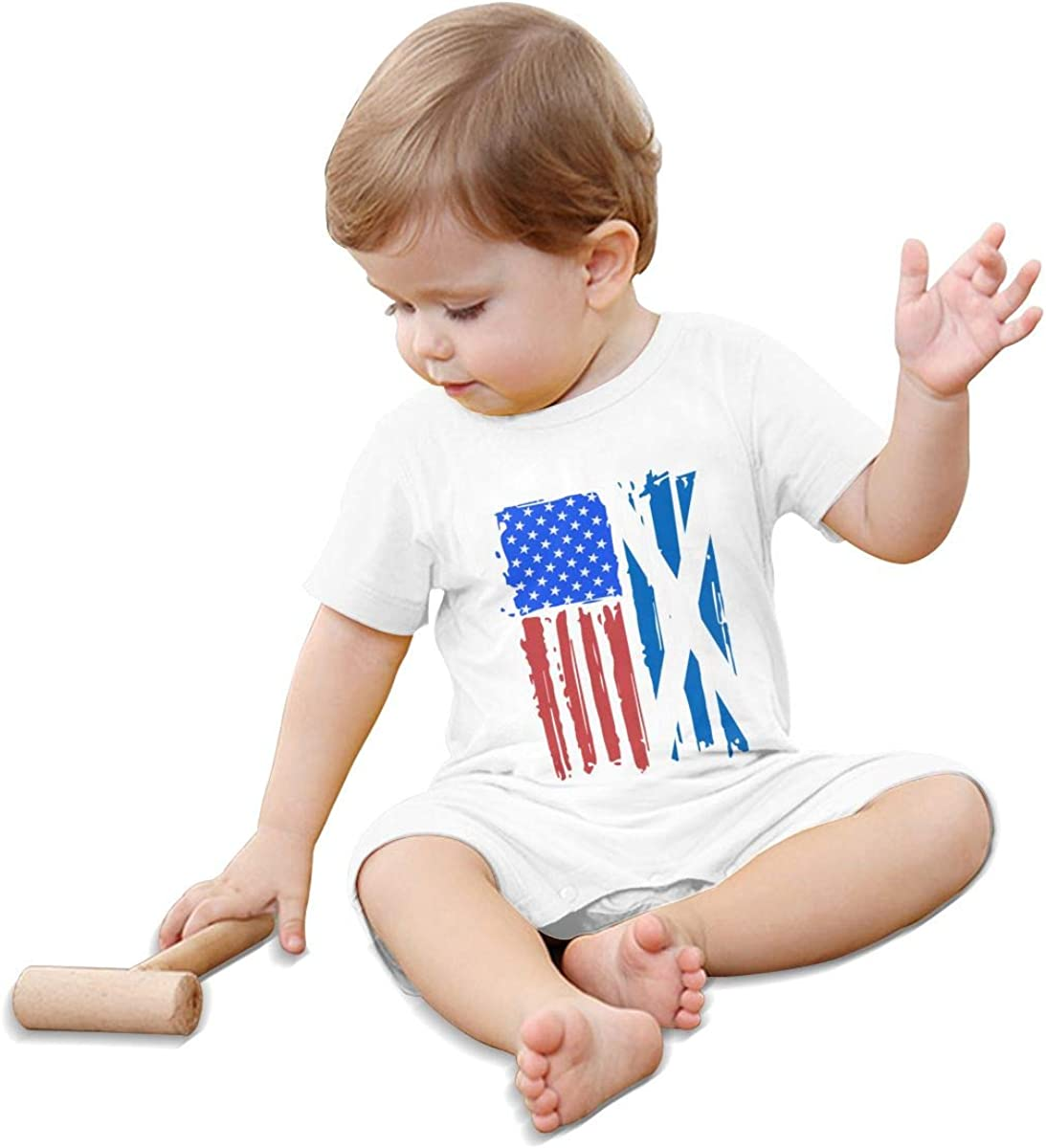 Mri-le1 Baby Girls Jumpsuit American Half Scotland Flag Toddler Jumpsuit