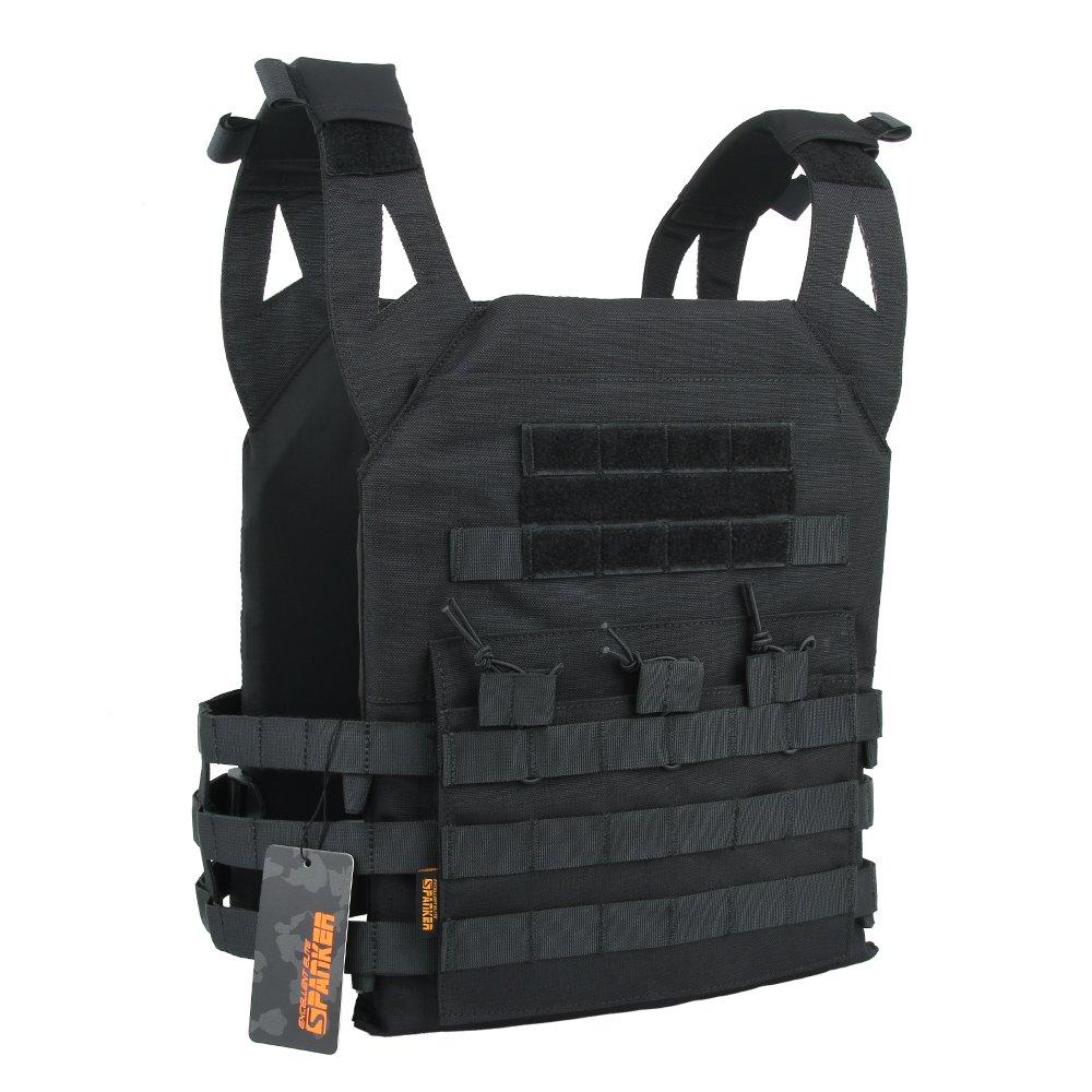 EXCELLENT ELITE SPANKER Tactical Airsoft Vest Outdoor Molle Child Small JPG Vest Game Protective Vest Modular Chest Set Vest for Fun-Children Version(BLK)