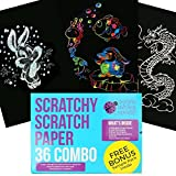 Scratch Paper Combo Art Set for Kids: 36 Big Sheets, 18 Sheets Rainbow + 9 Gold + 9 Holographic Silver! Includes 4 scratchers & stencils! Perfect Travel Activity or Gift for Children - Girls or Boys!