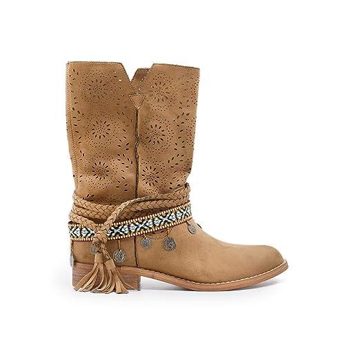 1df94f44115 ZAPSHOP Z93003-CAMEL Bota Estilo Boho de Media caña Calada, con Detalles de  Tiras Indias al Tobillo para Mujer Talla: 36: Amazon.es: Zapatos y  complementos