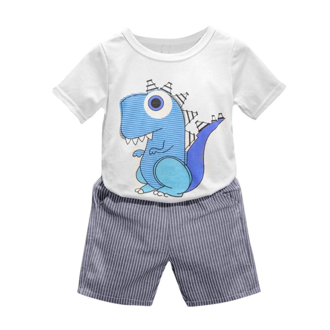 Jimmackey 2pc Bambino Ragazzo T-Shirt Stampa Cartoon Dinosauri Camicia Cime + Striscia Pantaloncini Neonato Abiti Set