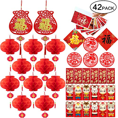 Chinese New Year Decorations - Blessing Pendant, Paper Lantern, Rat Year Red Envelope, New Year Greeting Card, Window Flower, Blessing Sticker-Year of The Rat Party Decor Set [42 Pcs]