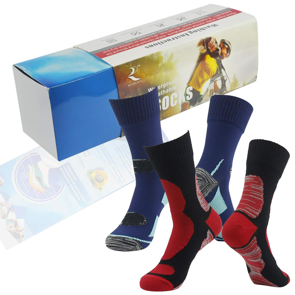 Breathable Socks, RANDY SUN Men's Waterproof Socks Suitable for a Range of Outdoor Activities Works Size L by RANDY SUN