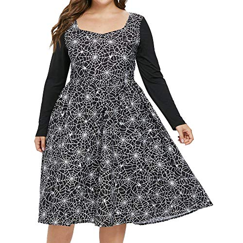 iLOOSKR Plus Size Women Halloween Party Cobweb Print Zipper Square Collar Long Sleeves A-Line Dress Mid Calf Dresses Black]()
