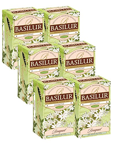 - Basilur | Jasmine Green Tea | Single Origin | 100% Pure Ceylon | 20 Ct Foil Envelope Teabags | Pack of 6