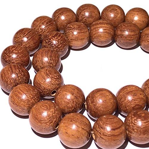 Wood 6mm Round Beads - [ABCgems] Large Hole Philippine Bayong Hardwood (Exquisite Craftsmanship- Beautiful Wood Grain) Tiny 6mm Smooth Round Organic Tropical Wood Beads