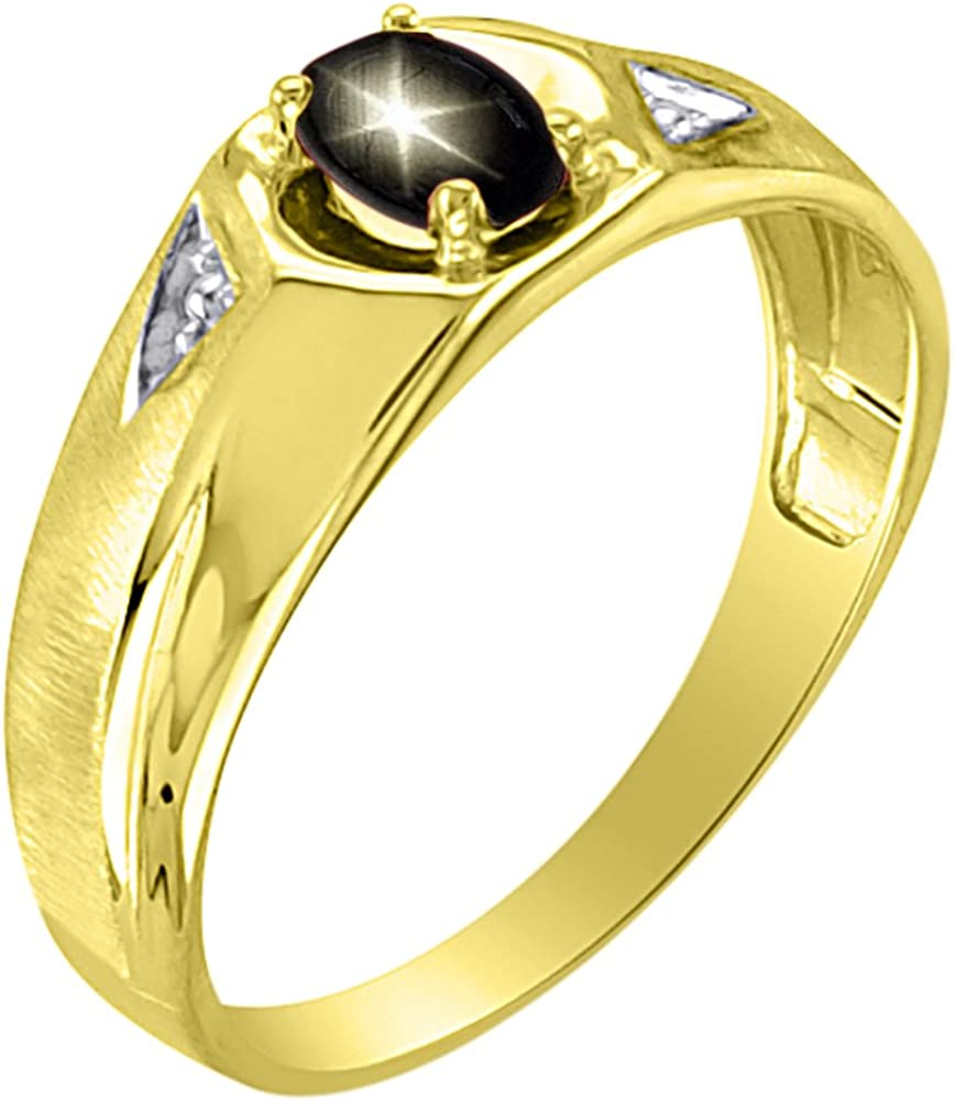 Star Ruby Ring Sterling Silver or 14K Yellow Gold Plated Silver