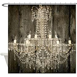 "CafePress Shabby Chic Rustic Chandelier Decorative Fabric Shower Curtain (69""x70"")"