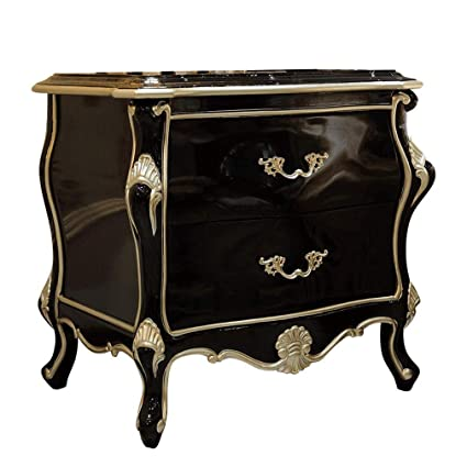 GYTOO Mesita de Noche Negra con 2 cajones: diseño Europeo ...