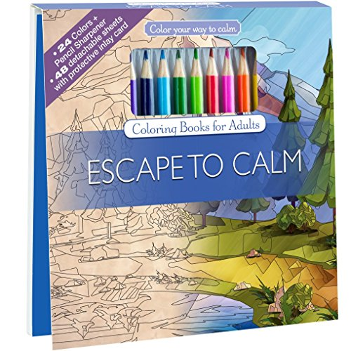 Escape To Calm Adult Coloring Book Set With 24 Colored Pencils And Pencil Sharpener Included: Color Your Way To Calm (Package Beach Postcards)