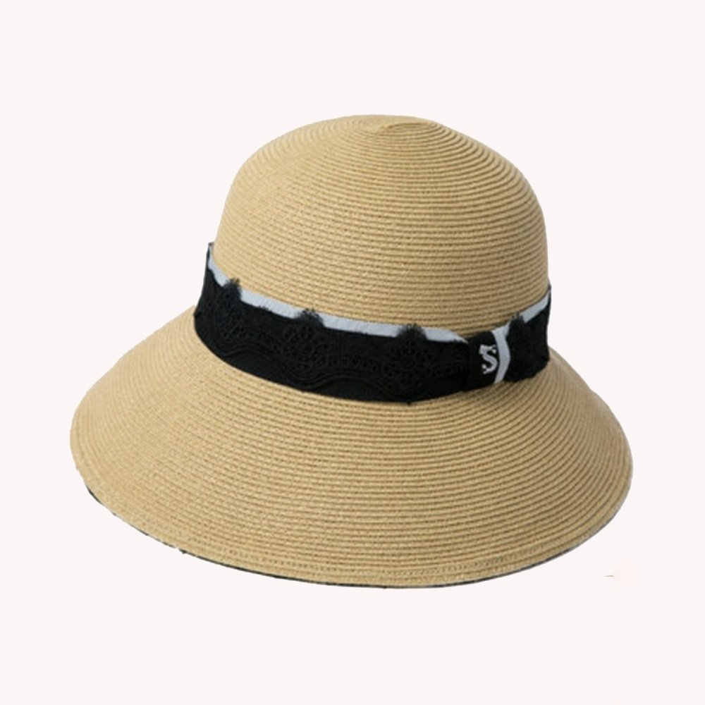Beige NAN Liang Hat Female Summer Small Fresh Vacation Straw Hat Wild Large Beach Visor Hat Seaside Travel Sun Hat Beige bluee White (color   Beige)