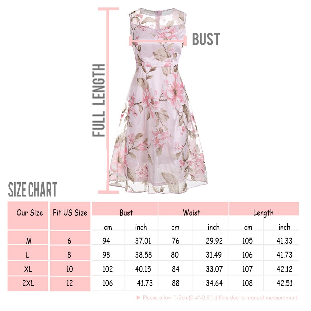 090d5004ffe Amazon.com  DressLily Sleeveless Floral Sheer Organza Dress