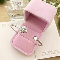 Yolandabecool Women Bangle Rhinestone Cuff Bangle Heart Charm Bracelet B Style