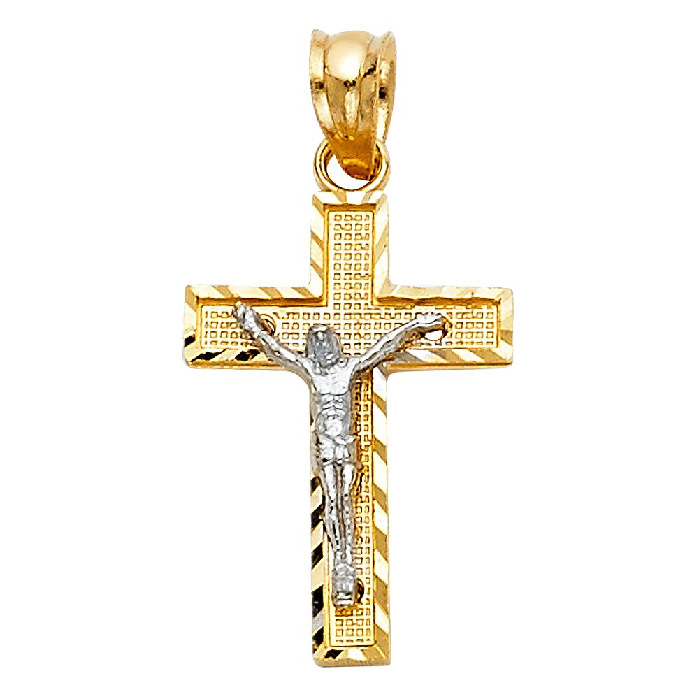 21mm x 13mm Million Charms 14K Two-Tone Gold Small//Mini Religious Side Diamond-Cut Crucifix with 18 Rolo Chain