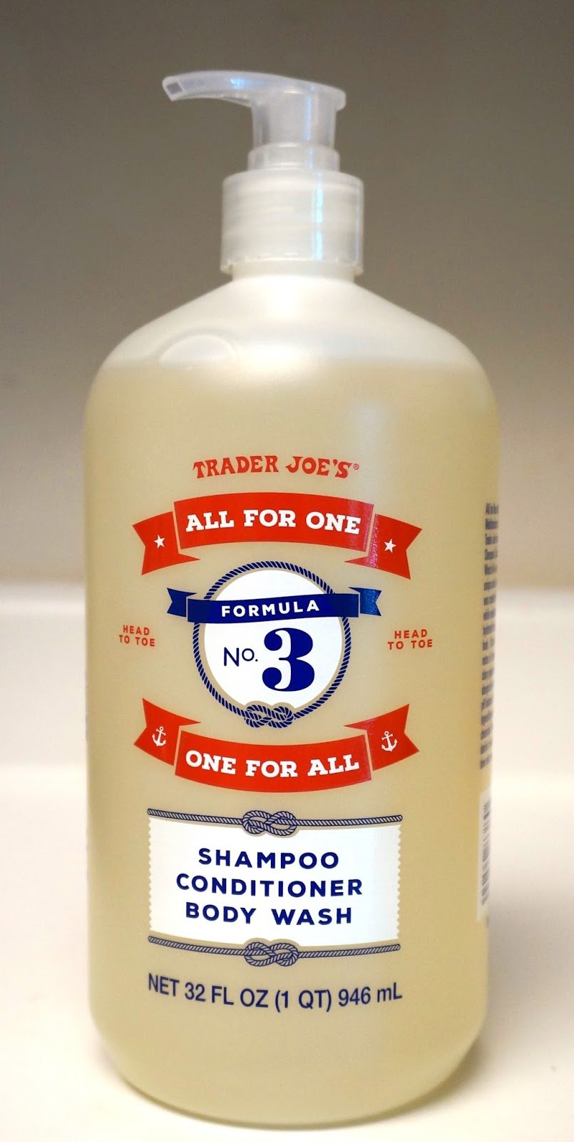 Trader Joe's - FORMULA NO.3 ALL FOR ONE, ONE FOR ALL Shampoo, Conditioner & Body Wash NET 32 FL OZ 946 ml