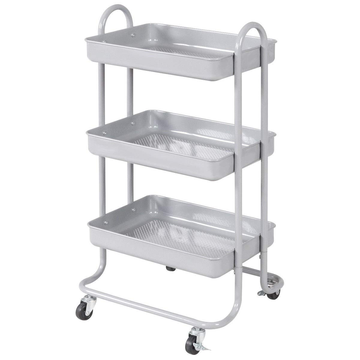 MD Group 3-Tier Steel Rolling Kitchen Trolley Cart