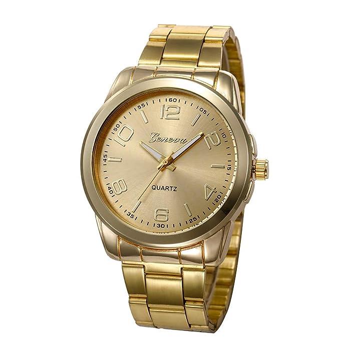 Darringls_Reloj CSD007 Geneva,Relojes Deportivos Reloj de Pulsera de Cuarzo Moda para Mujeres y Hombres de Negocios Casuales analógico de Acero Inoxidable ...