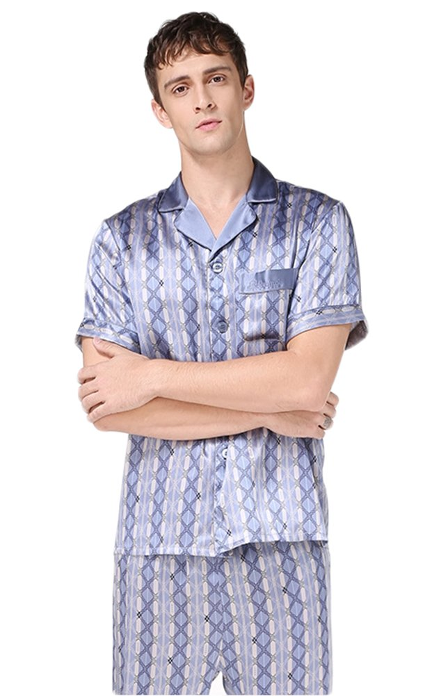 Luxury Silk Pajamas Sets Short Sleeve Beautiful Gifts for Husband Blue M