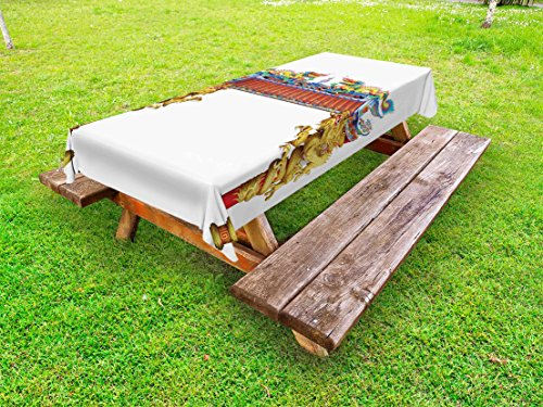 Ambesonne Dragon Outdoor Tablecloth, Chinese Style Dragon Archway Statue Over Pillars in Asian Temple Mythology Art, Decorative Washable Picnic Table Cloth, 58 X 120 inches, Yellow Red Blue ()