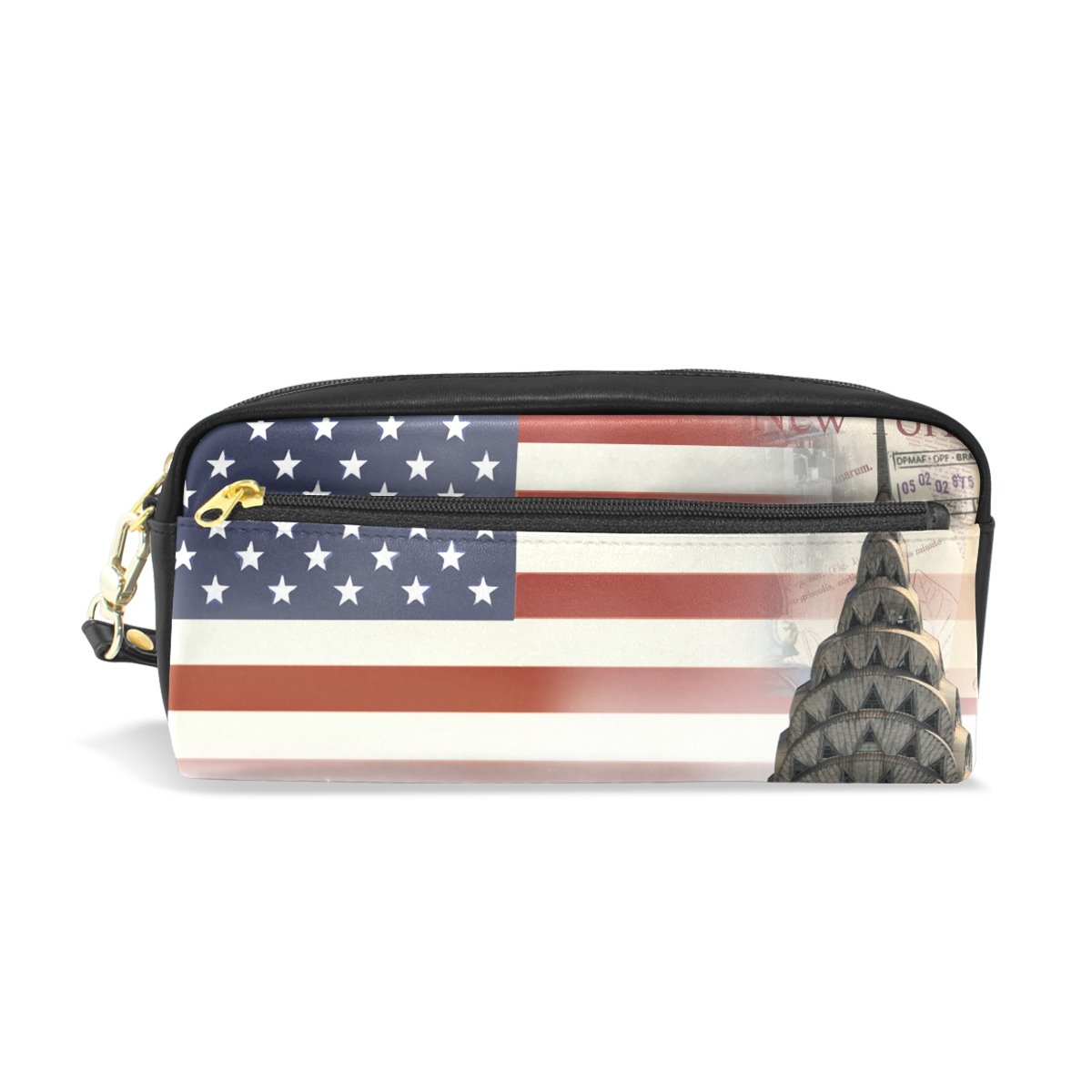 FeiHuang America Flag Leather Student Pencil Case Pen Cosmetic Bag for Girls Customized Makeup Pouch
