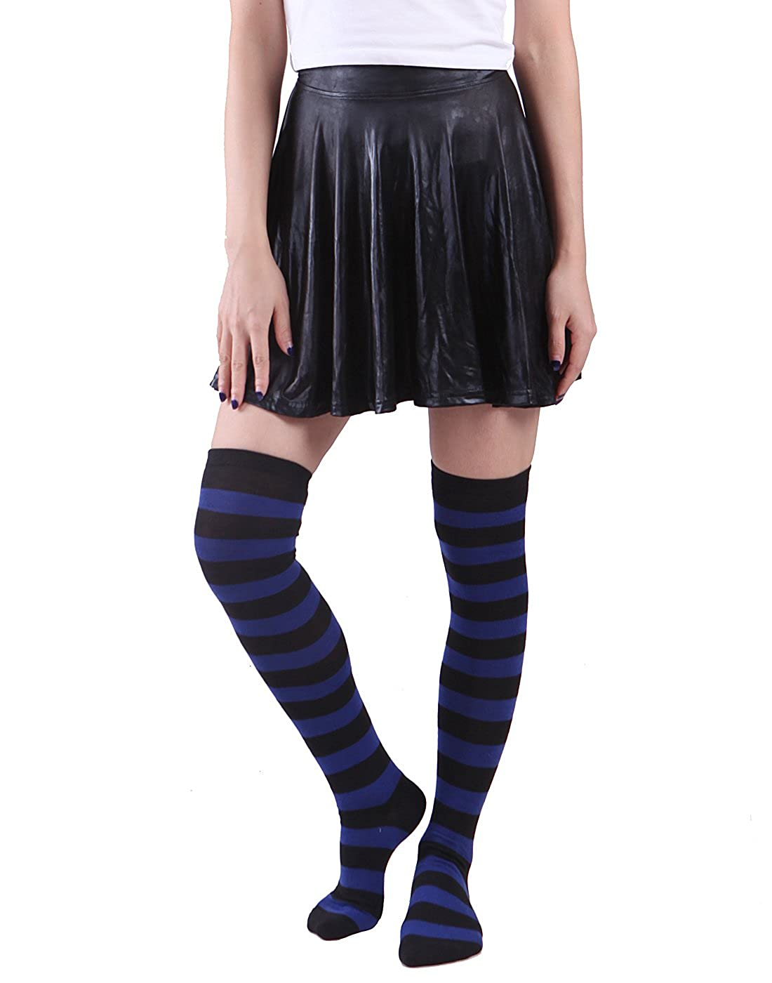 HDE Womens Opaque Solid and Striped Thigh High Stockings Socks