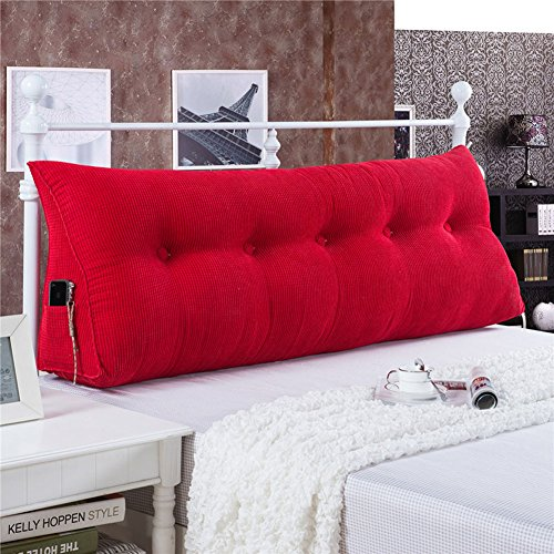 Vercart Sofa Bed Large Filled Triangular Wedge Cushion Bed Backrest Positioning Support Pillow Reading Pillow for Daybed Office Lumbar Pad with Removable Cover Red X-Long Twin (Long Lumbar Pillow)
