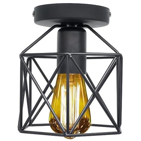 Retro Vintage Lámpara de techo, Industrial Luz de techo Metal Vintage iluminación Rústico Montaje semi empotrado Lámpara de techo Lámpara de E26/E27 ...
