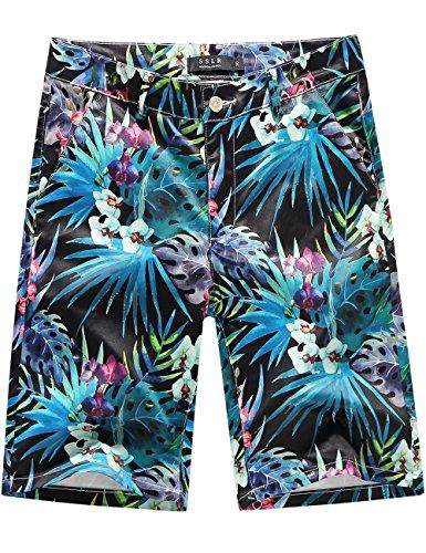 Hawaiian Print Shorts (SSLR Men's Mid Rise Stretch Flat Front Hawaiian Aloha Relaxed Fit Casual Shorts (30, Black))