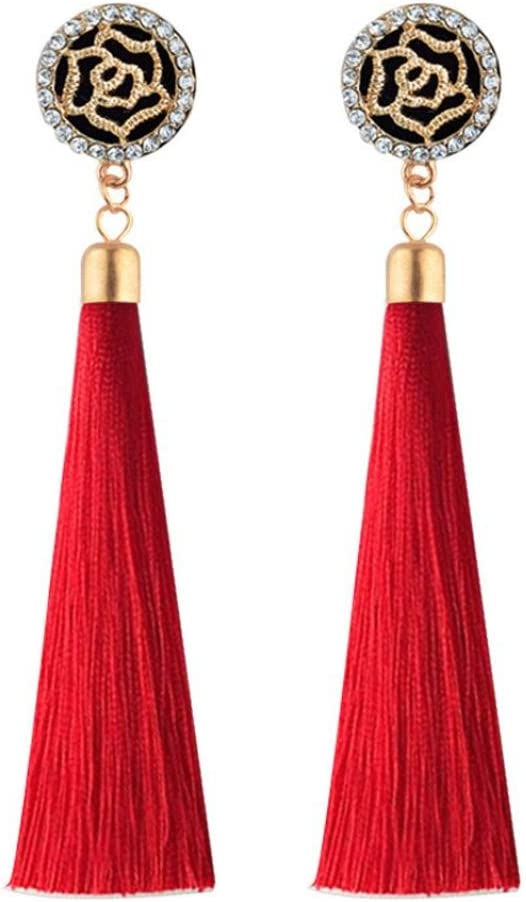 Bohemia Long Tassels Dangle Clip on Earrings Screw on backs Girls Double Circle Thread No piercing Red