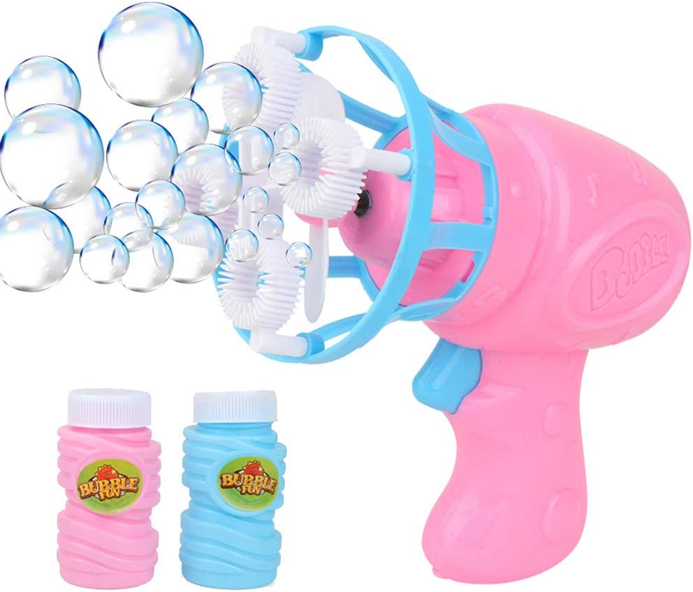 Ackful????Funny Automatic Bubble Blower Fan Electric Bubble Machine Outdoor Kids Toys Games (Pink)