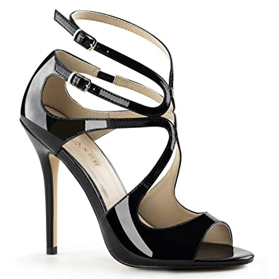 Womens Unique Black Patent Strappy Sandals Shoes with 5 Inch Slim Heels  Size  6