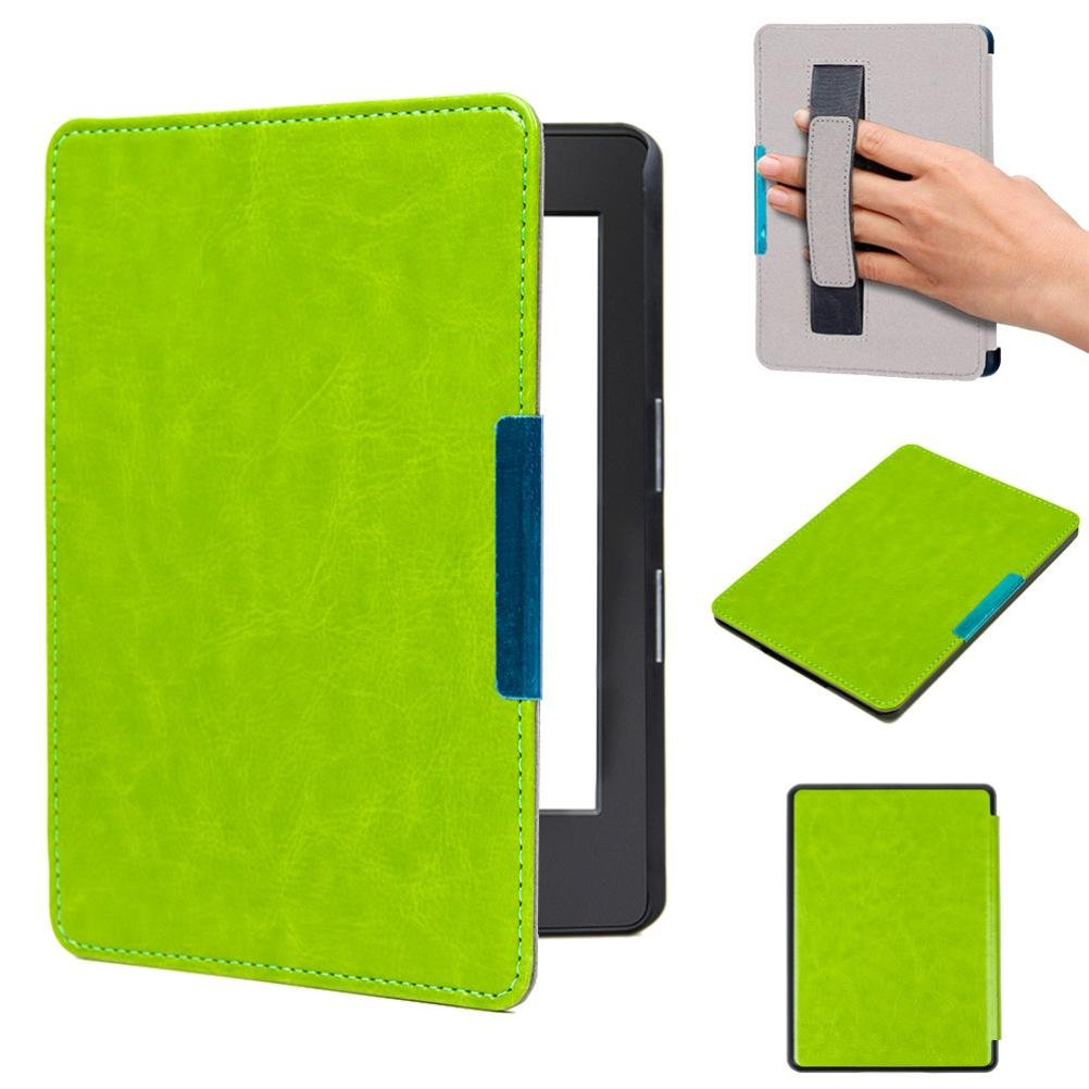 Iusun For Amazon New Kindle 2016 (8th Generation) 6 inch Magnetic Auto Sleep PU Leather Cover Case + HD Screen Protective Film + Touch Pen (Green) BHH61202006GN_ZXJ