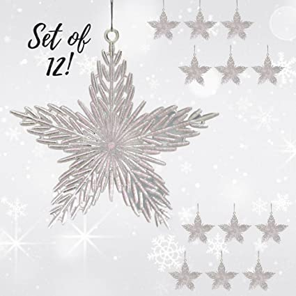 banberry designs star christmas ornaments pack of 12 iridescent 6 inch stars glitter filled
