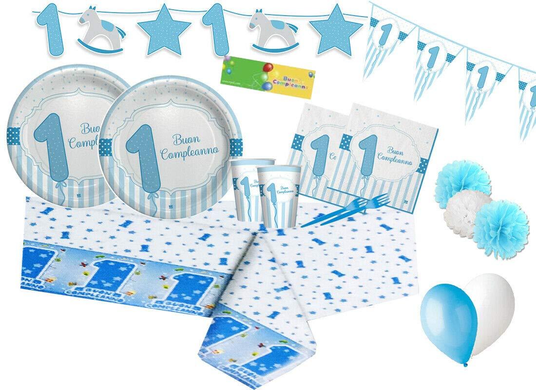 Big-party Kit n 64 Addobbi Primo Compleanno 1 Anno Strisce Celeste