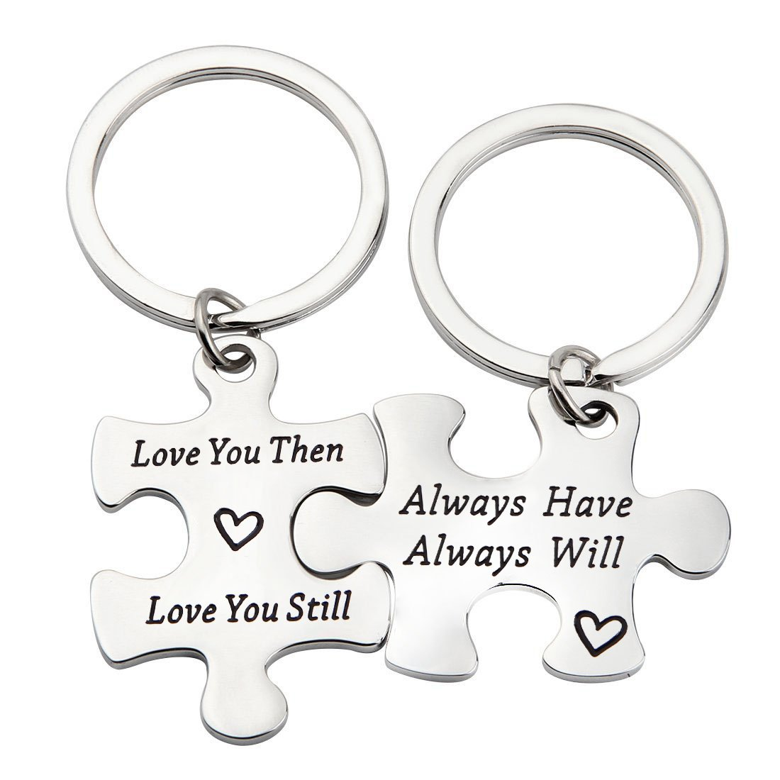 MAOFAED Puzzle Couple Keychain Love You Then Love You Still Gift For Her or Him (Love You Then CP Keychain)