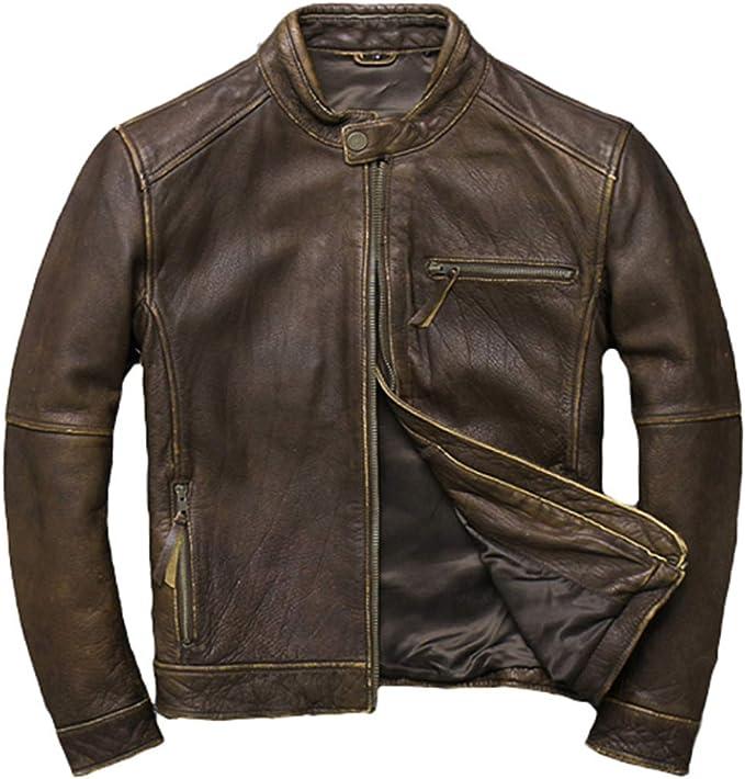 男性ヴィンテージ純正牛レザージャケットプラスサイズ牛革レザーコートオートバイレザーリアルカウレザージャケット