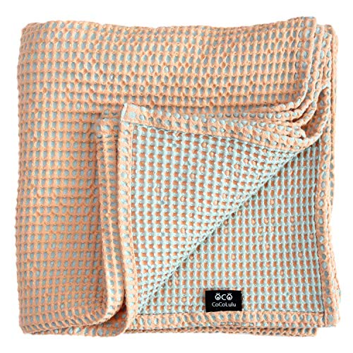 Soft Toddler Reversible Waffle Weaving Cotton Blanket Oversized 53 x 48inch (Pink & SkyBlue) - Cuddle Sheet for Newborn Infant Baby Kids, Thick Soft Cozy Warm Breathable, Best Gift