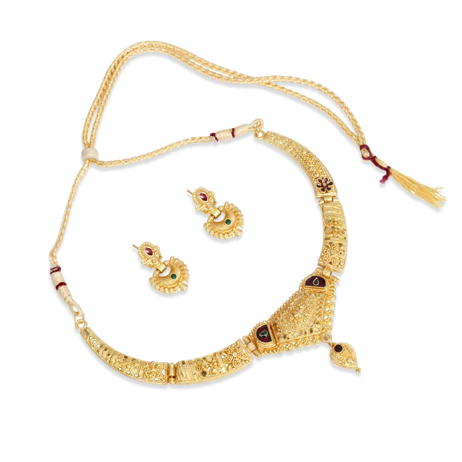 Buy Sanara Traditional South Indian Gold Plated Choker Necklace