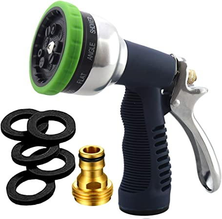 9 Adjustable Patterns Metal Water Jet Hose Sprayer