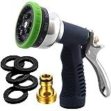 Sunrich Garden Hose Nozzle Heavy Duty Spray 9 Adjustable Patterns Metal Water Jet Hose Sprayer Hand Gun Grip Trigger for…