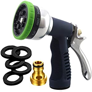 SUNRICH Garden Hose Nozzle Heavy Duty Spray 9 Adjustable Patterns Metal Water Jet Hose Sprayer Hand Gun Grip Trigger for Cleaning/Watering Lawn and Garden/Pets Shower