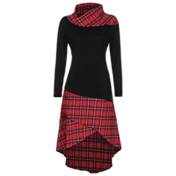 f6b59856ed5 Women Dress Daoroka Women Ladies High Neck Plaid Pattern Patchwork Fit and  Flare Casual Swing Skirt