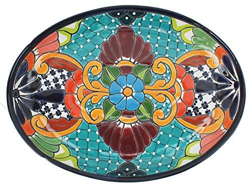 Mexikanische Handwerkskunst: Servierplatte oval, groß, handbemalt, türkis