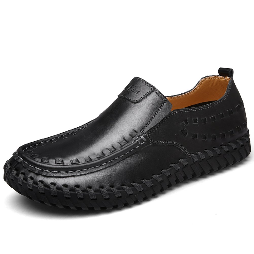 LakeRom Mens Premium Genuine Leather Casual Slip On Loafers Shoes
