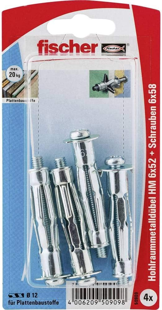 fischer HM 5 x 52 S-Cavity Metal Dowels with Screws for Attaching Pictures Curtain Rails in Panel Building Materials-Pack of 50-Item No Silver 519774