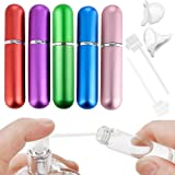 Refillable Perfume Atomizer Spray Bottle Mini Portable Spray Scent Pump Case for Travel Outgoing 5ml 5Pack With 2 Perfume Dispenser Pump Transfer Tool and 2 Funnel