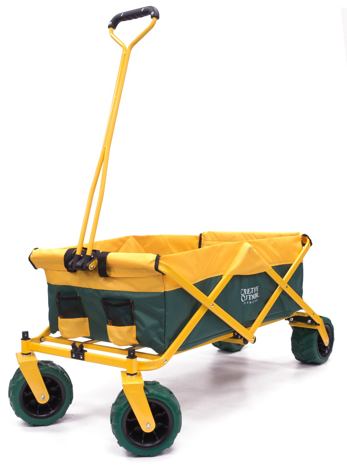 Creative Outdoor Distributor All-Terrain Folding SPORTS Team Wagon, (Green-Yellow/GreenWheels) 900555 - Multipurpose Cart for Gardening, Camping, Beach Trips, and Travelling