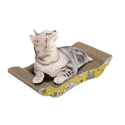 Jitong Curvo Rascadores para Gatos de Carton Cartoon Impresa Juguetes Sofás Camas para Mascotas (Caqui