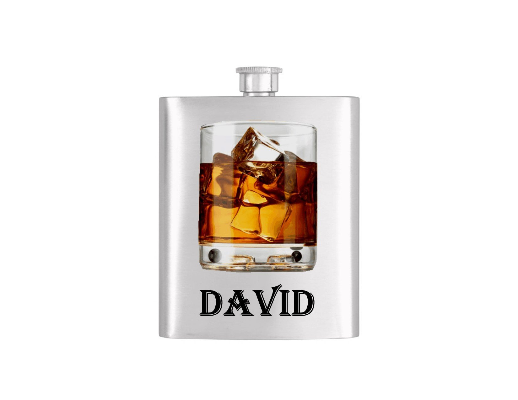 Personalized Whiskey Rocks Glass Batchelor Flask *** FREE FUNNEL INCLUDED *** Stainless Steel 7 oz Liquor Hip Flasks - Flask #75