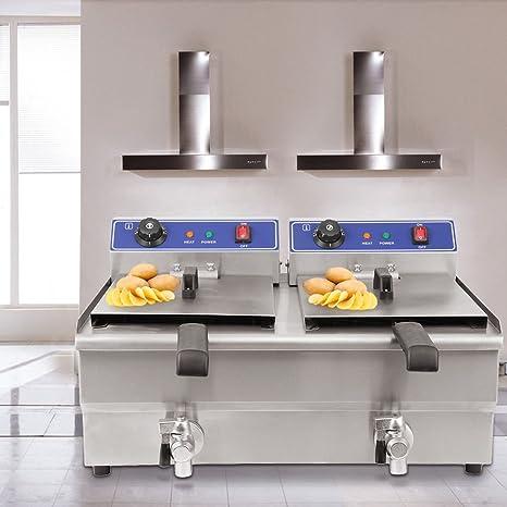 Ridgeyard 19L INOX Doble Tanque cocinas Grasa freidora Restaurante día Regalos de Pascua Deep Fat Fryer